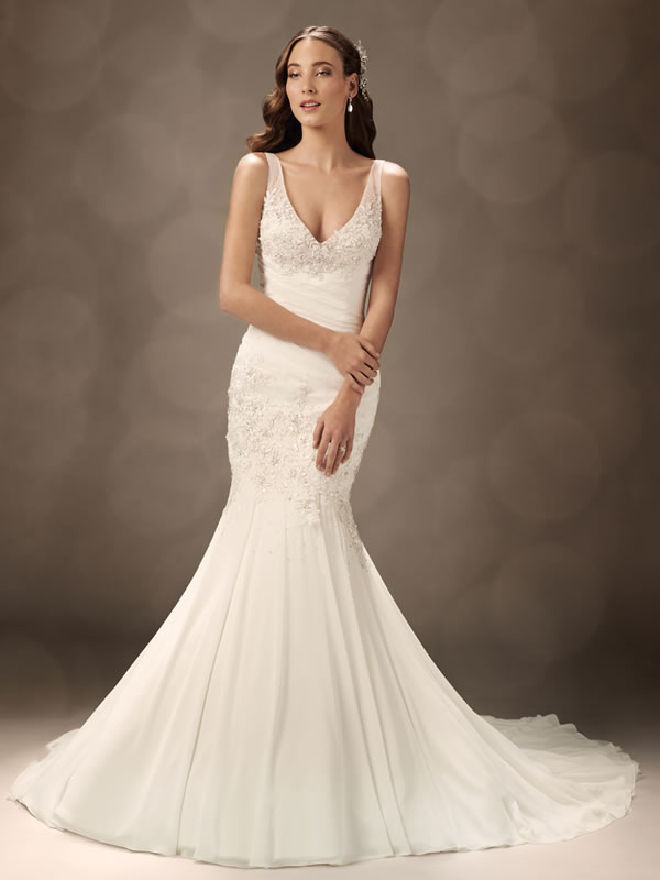 V-neck Mermaid Wedding Gowns