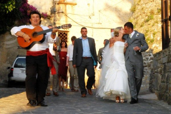 musicians serenade bride and groom