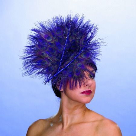 Feathered purple wedding hat with ostrich feathers