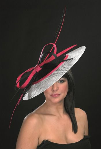 pink and black statement wedding hat