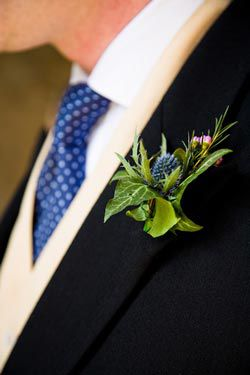 A thistle used as a buttonhole decoration