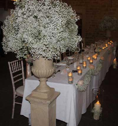 glily created these beautiful billowing gypsophila decorations