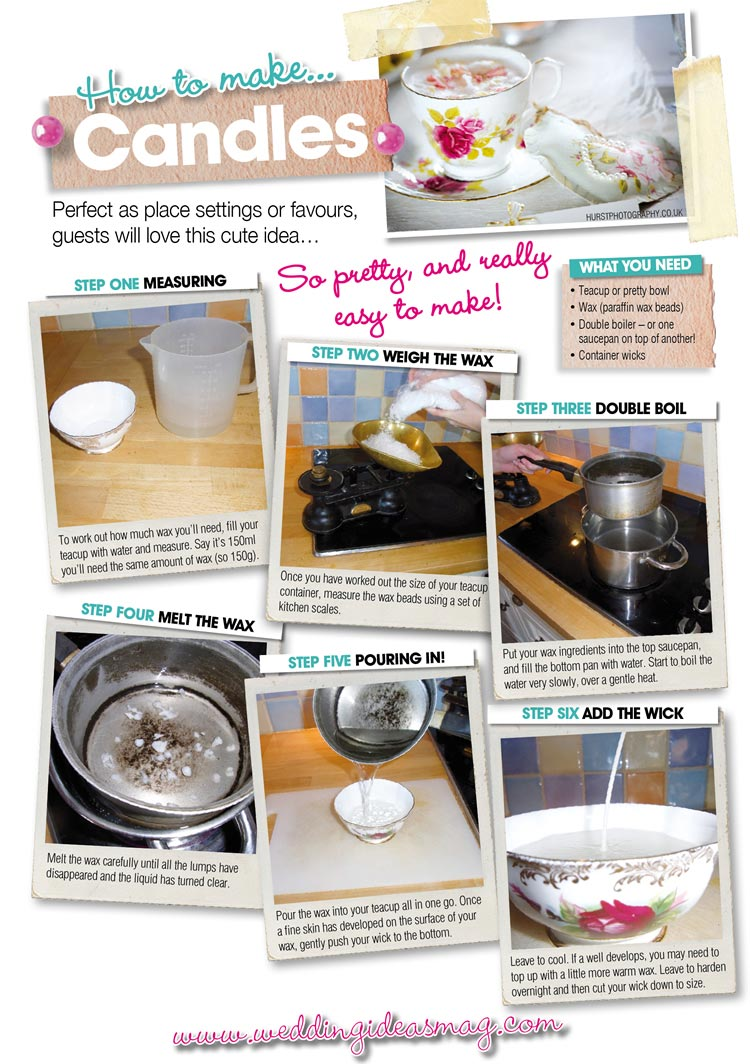 Make your own tea cup candles