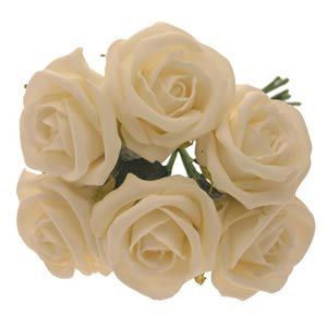 Cream Crinkle Foam Roses