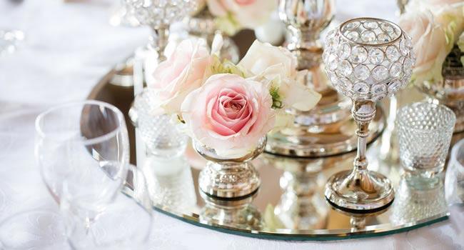 pink crystal and grey wedding theme