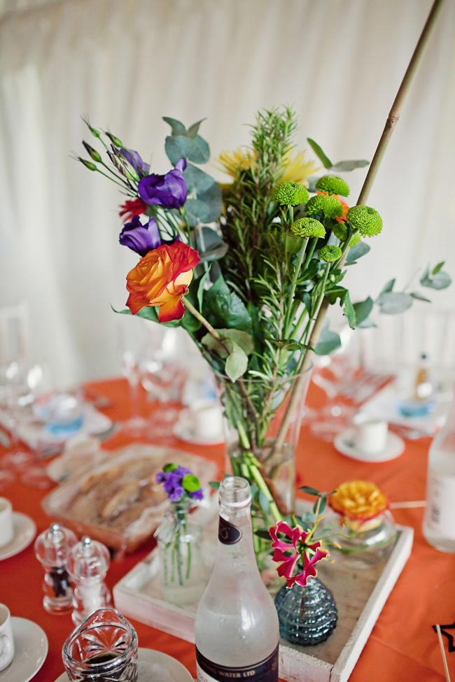 brightly coloured tablecentre emmacasephotography