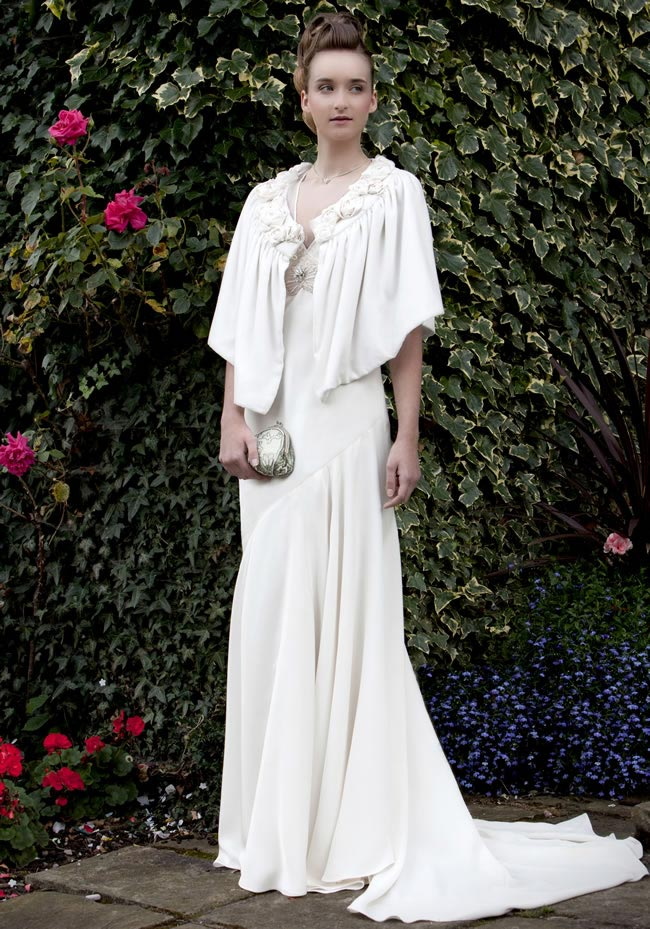 Wedding dress: Tanya Dress with Rose Cape by Sarah Willard