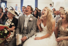 Wedding Guests Laughing - Make Your Guests Laugh With These Funny Wedding Readings funny wedding readings
