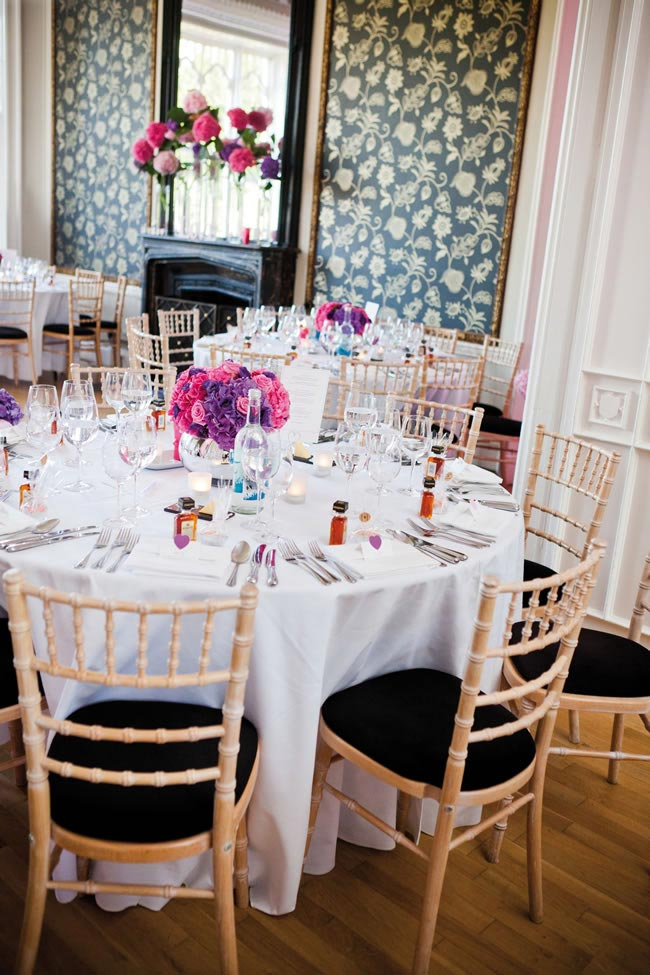 Charlotte and Steve's purple and pink modern real wedding © Sarah Legge