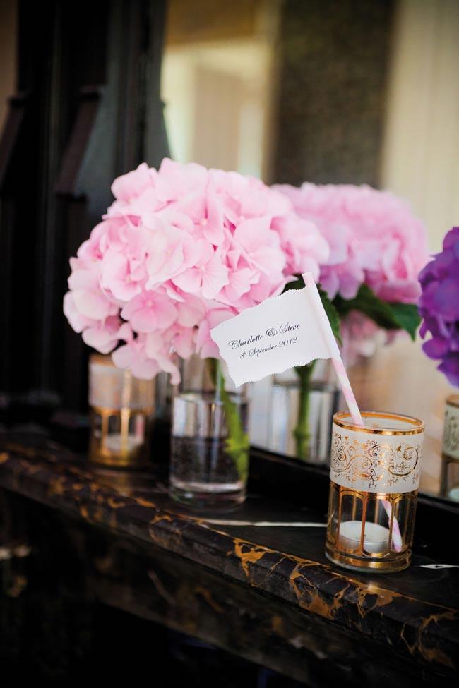 Charlotte and Steve's purple and pink modern real wedding © Sarah Legge