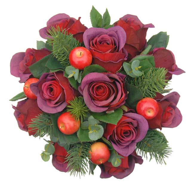 like-silk-wedding-flowers-youll-love-sarahs-flowers-new-website-Burgundy-Rose-&-Red-Apple-Hand-Tied-Christmas-Wedding-Bouquet-sarahsflowers.co.uk