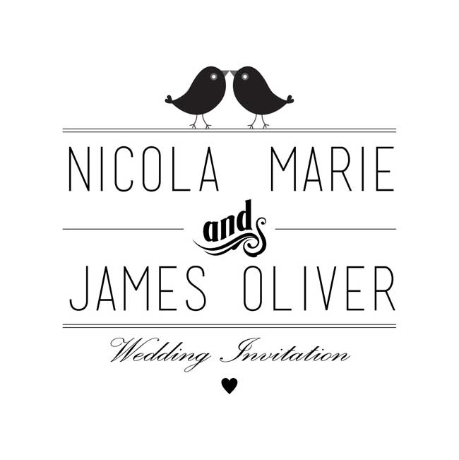 the-7-rules-of-wedding-stationery-every-bride-should-know-Monotone-Love-Birds