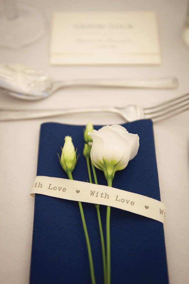 Rachael and Christopher's classic cream and navy real wedding © Samatha Davis Photography