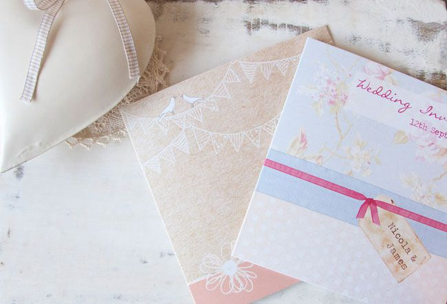 save-an-exclusive-10-on-wedding-stationery-with-the-card-gallery-Vintage-Bunting-and-Love-Birds_Shabby-Chic-Polka-Dot-Roses