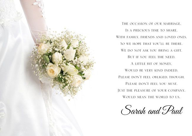Poem Cards To Ask For Money As A Wedding Gift Wedding Ideas Mag