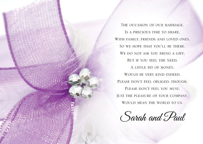 wedding gift poem Ask for Money as a Wedding Gift With These Poem Cards