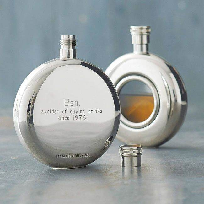 10-grooms-gifts-to-surprise-your-man-with-on-the-wedding-day-personalised-round-window-hip-flask-David-Louis-Design-notonthehighstreet-£27