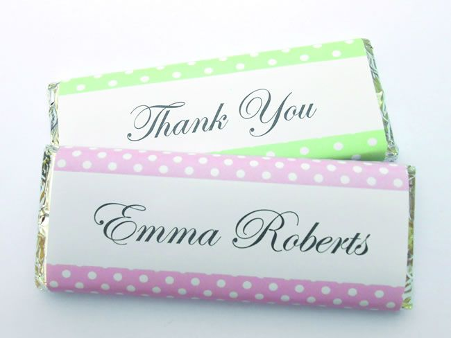 Pink and green polka dot favours, from £1.85, wrapperstar.co.uk