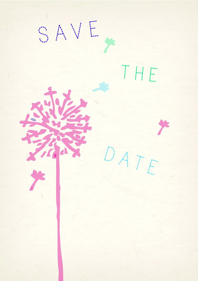 Wildflower save the date card, £2.25, dottypink.co.uk