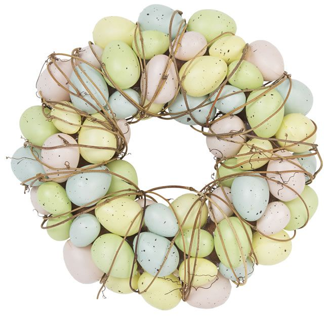 Patel Easter egg and twig wreath, from £21, Gisela Graham