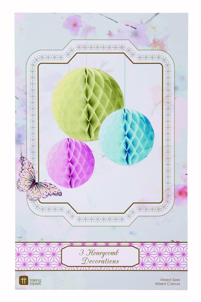 Honeycomb decorations, theweddingcabinet.co.uk