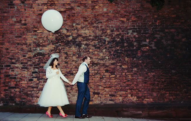 Nicola and Joff's quirky 1950s-inspired wedding with a coral colour scheme © yanaphotography.co.uk