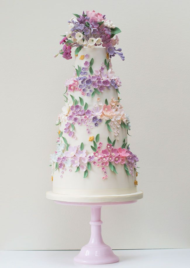 15-of-the-prettiest-wedding-cakes-with-flowers-rosalindmillercakes.com-22-Purple-Bees-and-Blossoms