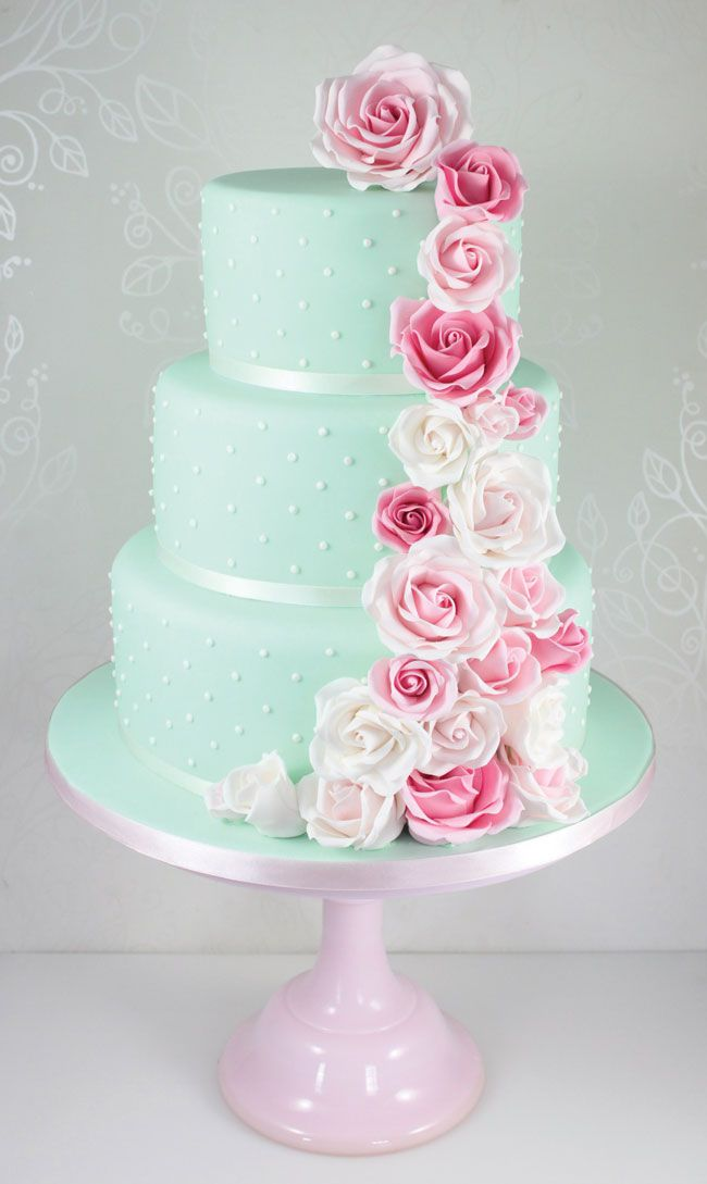 15-of-the-prettiest-wedding-cakes-with-flowers-thefairycakery.com-mint-and-pink-rose-cascade-400