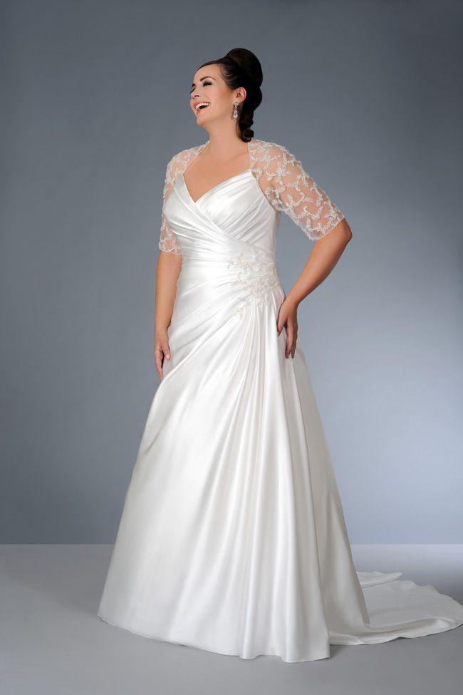 Robe mariée grande taille avec courte manche