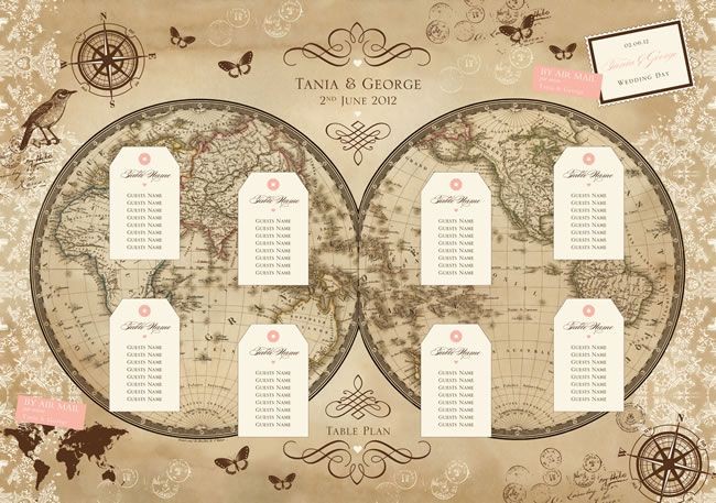 Vintage world map - Table plans to suit your wedding theme