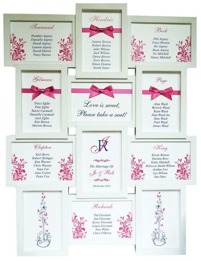 Framed table plan - 20 Amazing Table Plans to Suit Your Wedding Theme