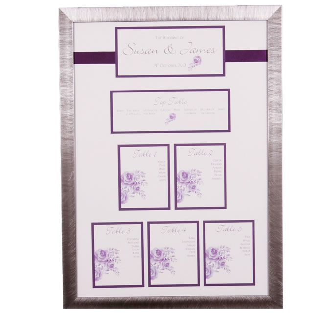 Purple framed - table plans to suit your wedding theme