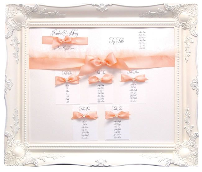 Framed pretty white and pink bow - Table plans to suit your wedding theme