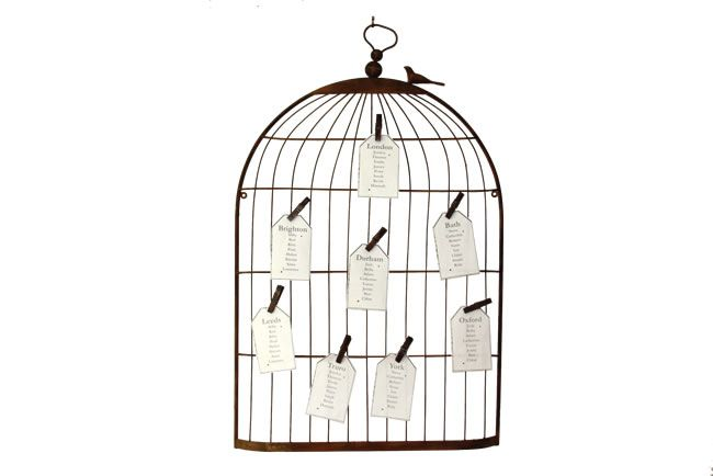 Birdcage with pegs - Table plans to suit your wedding theme