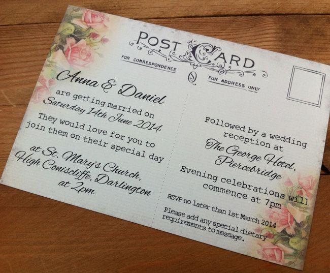 7-super-wedding-stationery-ideas-for-spring-2015-Vintage-Rose-Postcard-2