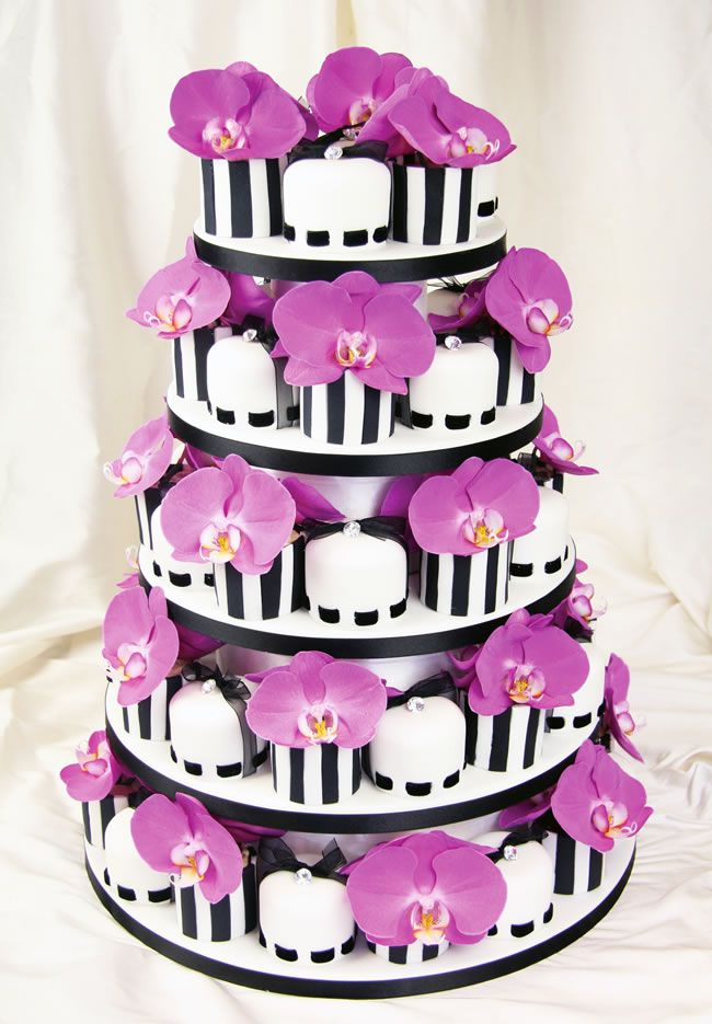 how-to-work-prints-and-patterns-into-your-wedding-theme-couture-cakes.co.uk-Monochrome-Orchid-Minis-£9-each
