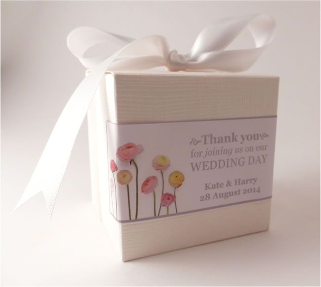 Personalised wedding favour box wrap from Unique Wedding Favours