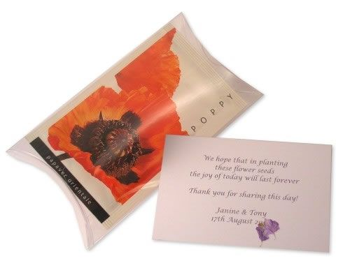 Personalised seed packets from Unique Wedding Favours