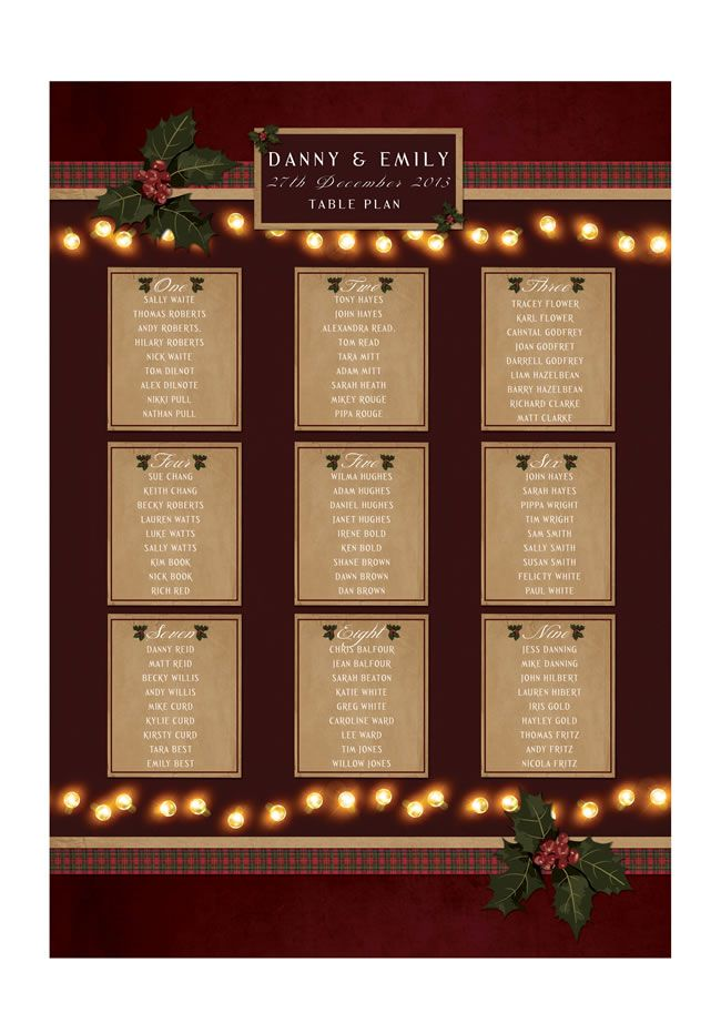 festive-fancies-heartinvites.com Christmas Lights_Heart Invites_Table Plan From £40