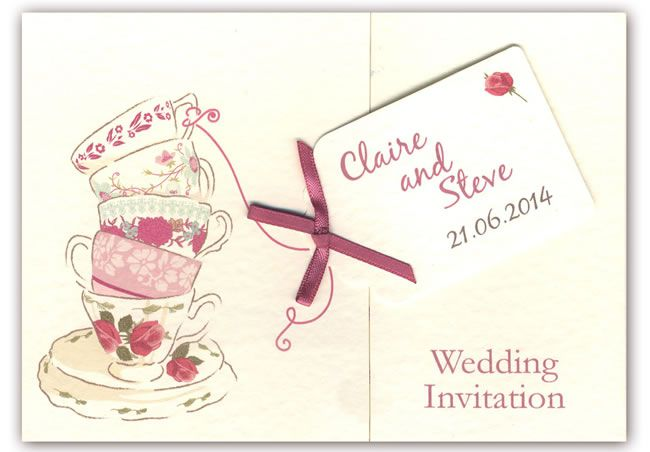 teaparty-stationery-wearetickledpink.co.uk Tea for Two Gatefold invite. vintage pinks cream. £2.75