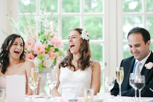 How to Write a Flawless Father of the Bride Speech bride laughing