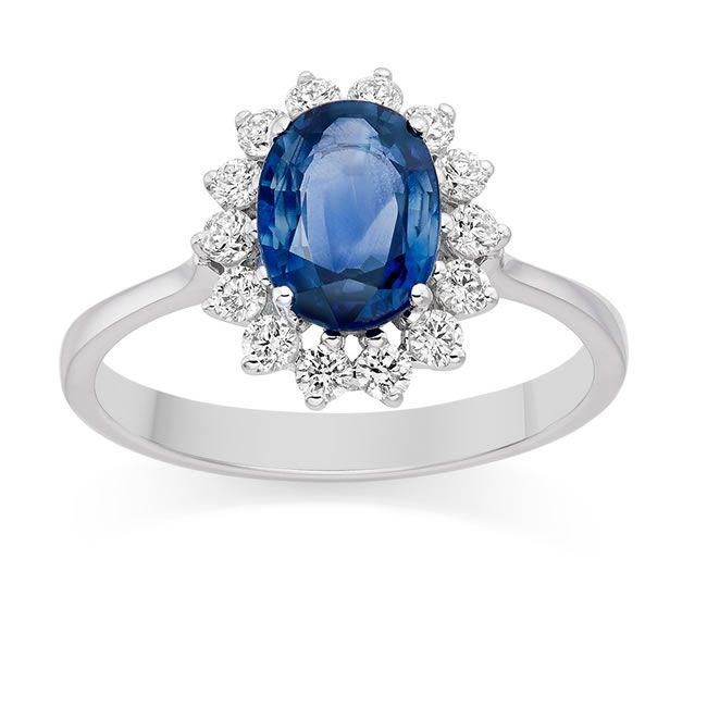 what-makes-him-propose-Diamond and Blue Sapphire Ring in 18k White Gold - £1,609