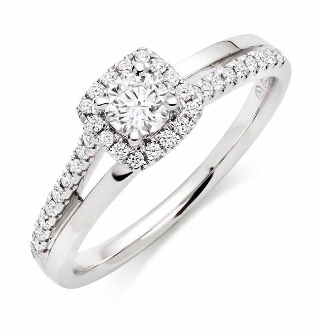 beaverbrooks-downton-abbey-18ct White Gold Diamond Halo Ring