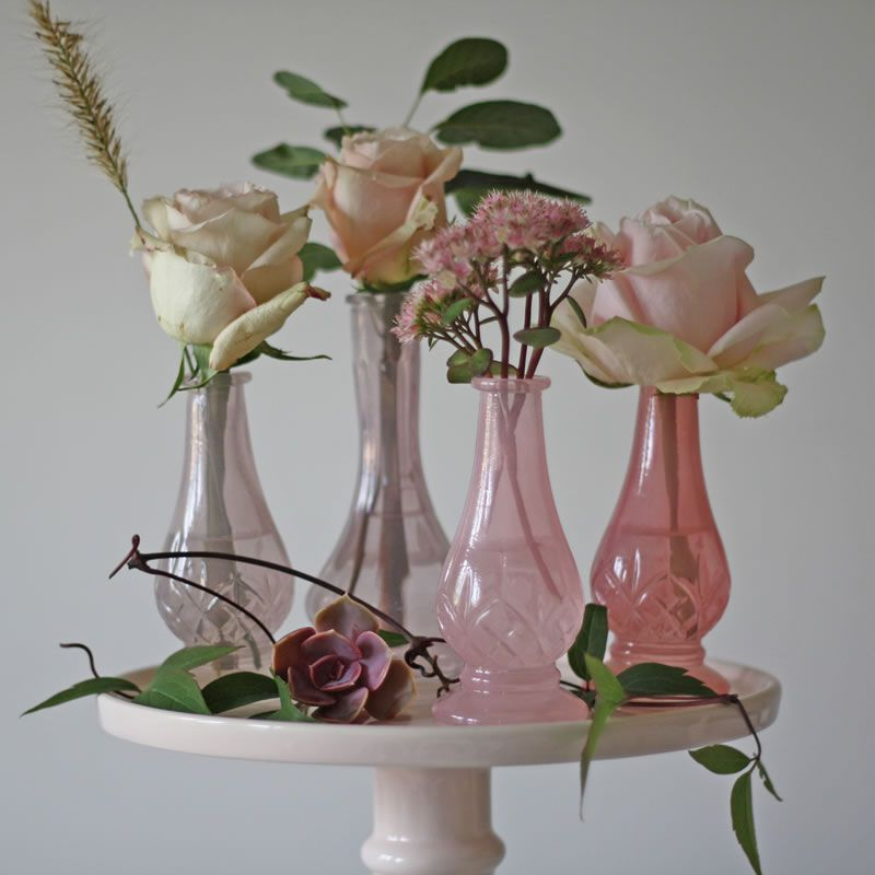 Dainty Pink Glass Bud Vases The Wedding of my Dreams