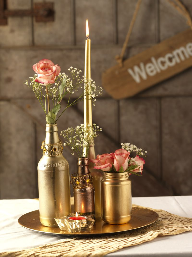 Rust-Oleum Wedding Bottle Table Arrangement