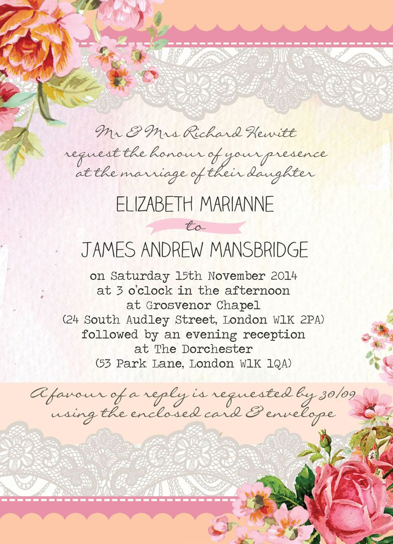 awards-advertorial-world-of-wedmin-Pastel Watercolour Invitation, Hip Hip Hooray, from 80p, blush, pink, peach, coral, lace, floral, flowers, hand painted