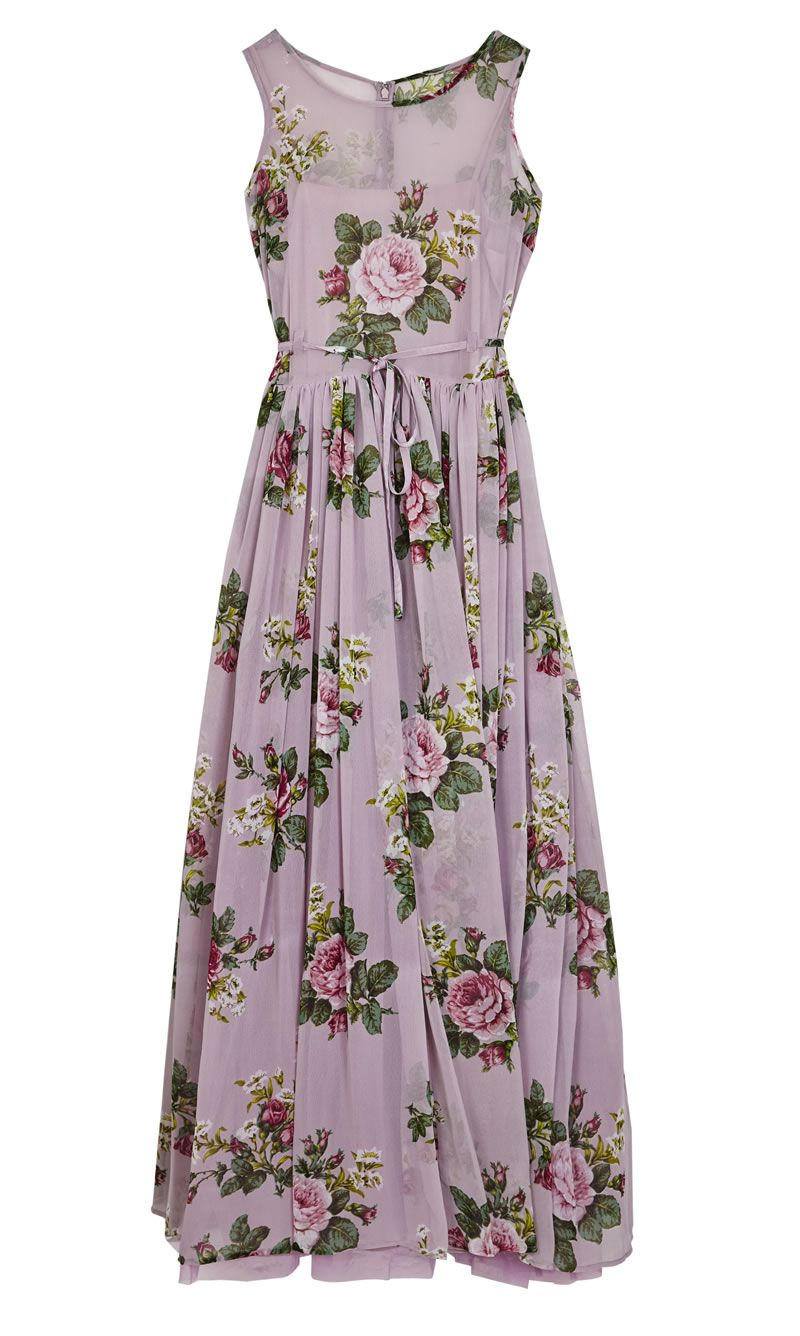 asos-bridesmaid-collection-ASOS Wedding Lilac Floral Super Full Maxi Dress ú95