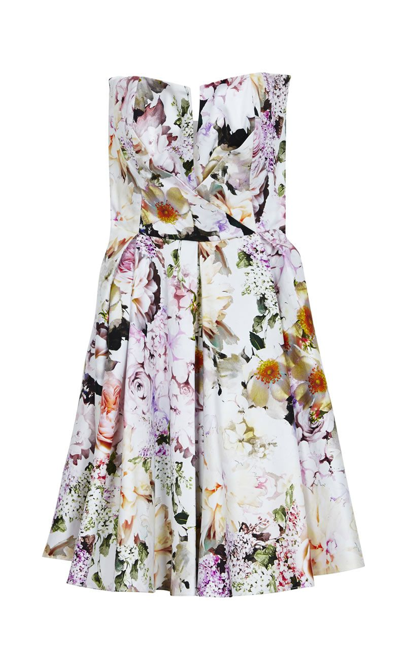 asos-bridesmaid-collection-ASOS Wedding Notch Bandeau Floral Mini Dress ú60