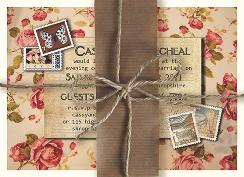 best-rustic-wedding-stationery-knotsandkisses.co.uk Rose Cottage Day Invitation 2.95