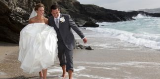 headland-hotel-romantic-getaway-The Headland Wedding Couple on Fistral Beach